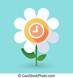 Vector flower with a clock