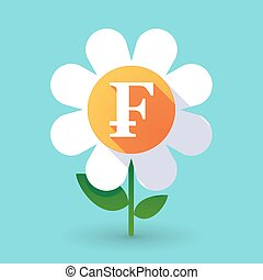 Vector flower with a swiss franc sign - Illustration of a...