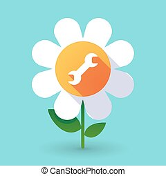 Vector flower with a wrench - Illustration of a vector...
