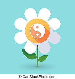 Vector flower with a ying yang - Illustration of a vector...