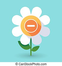 Vector flower with a subtraction sign - Illustration of a...