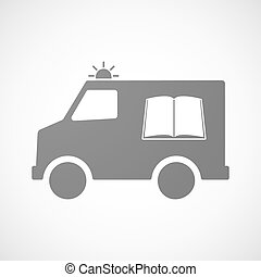 Isolated ambulance icon with a book - Illustration of an...
