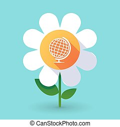 Vector flower with  a table world globe