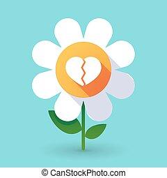 Vector flower with a broken heart