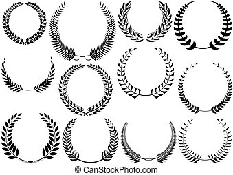 Laurel Wreaths Collection - Black Illustrations, Vector