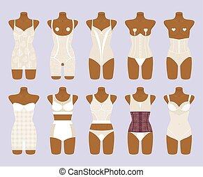 Corrective lingerie set. Female lace underwear. Vector...