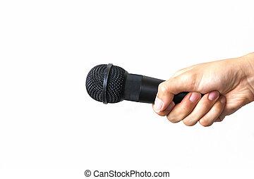 話筒, 概念, 事務, 被隔离, 手, 背景, 演說, 白色, 男性, 公眾