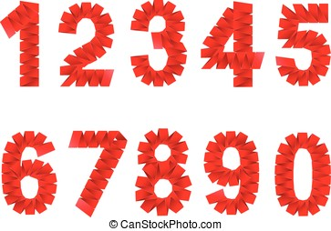 Numbers set folded paper signs