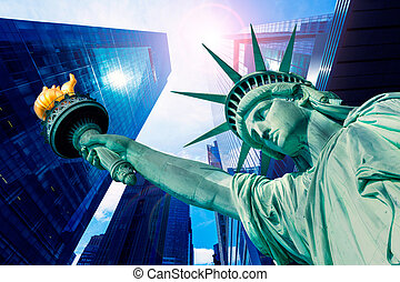 Liberty Statue and skyscrapers New York American Symbols USA...