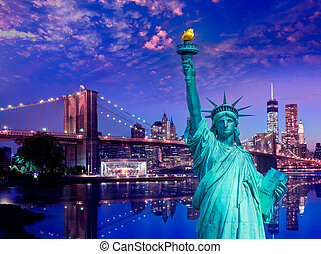 Liberty Statue and Brooklyn bridge New York American Symbols...