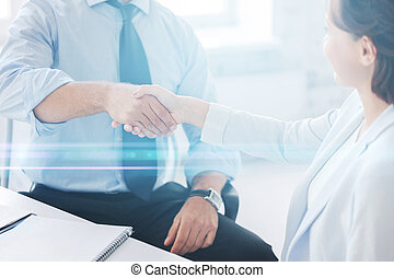 business people shaking hands in office - businesss and...