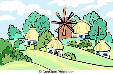 Summer landscape of the village. on hill stands a mill and...