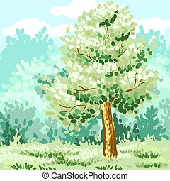 Lonely green tree. Corporate identity is drawn by hand. Vector
