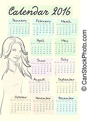 2016 calendar with cute girl. It can be used as greeting cards. Sketch drawing style. Vector