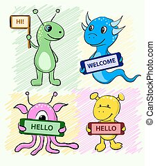 Set of cute cartoon alien monster with a sign in his hands for your test. Vector