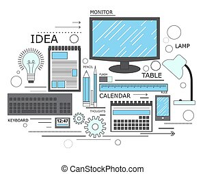 Power of knowledge, learning process, self education in applied science, computer technology for study. Modern concept. Line art. Vector
