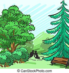 Spruce and green tree in the background. Park, an empty bench, a couple on picnic. Corporate identity is drawn by hand. Vector