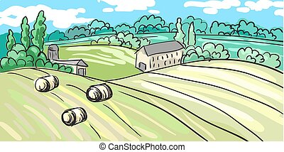 Summer landscape of the village. on hill stands house. hand-drawn. It can be used as postcard. Vector
