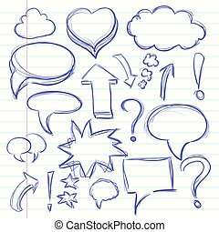 The cloud of thoughts conversation in the comics, exclamation and question marks. Collection sketch drawing. Vector