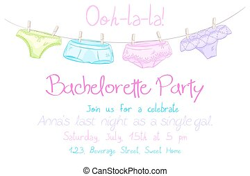 vector hand drawn bachelorette party invitation card with funny panties are hanging on a rope