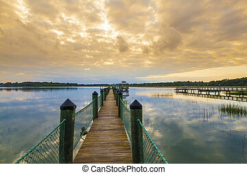 South Carolina Lowcountry - Dock at sunset in the South...