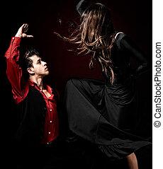 jovem, par, paixão, flamenco, Dançar,...