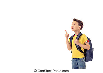 Funny little boy with school backpack is smiling, looking...