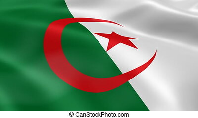 Algerian flag in the wind. Part of a series.