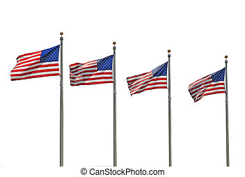 vier,  U,  s, fliegendes, Flaggen
