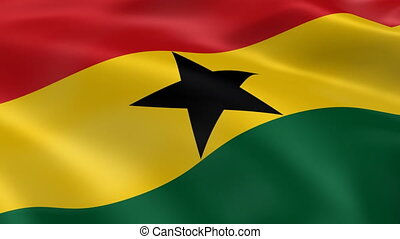 Ghanaian flag in the wind. Part of a series.