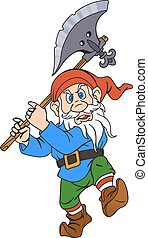 Gnome with a halberd - Elderly gnome warrior with a halberd....