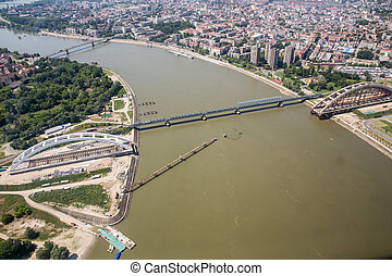 Zezelj bridge in Novi Sad - Aerial view of the Zezelj bridge...