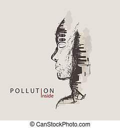 concept of environmental pollution by factories against nature