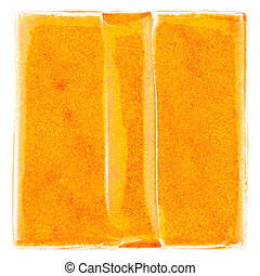Handmade glazed ceramic tile - Orange lined handmade glazed...