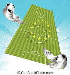 Flying football soccer pitch