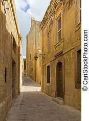 Silent and magical alley in Mdina, Malta