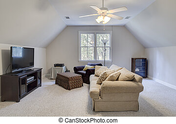 Attic man cave with tv - Attic man cave with furniture and...