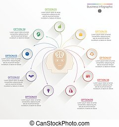 Element for template infographic business concept with nine...