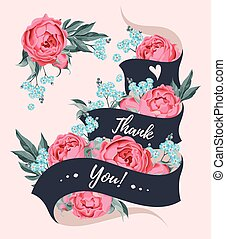 Thank you card with ribbon