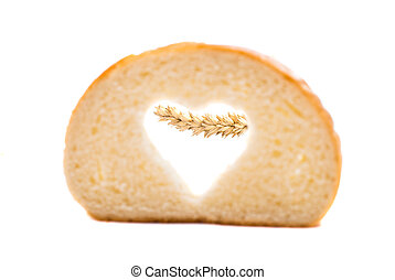 bread slice with symbol of heart