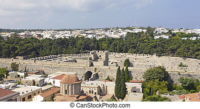 old town of Rhodes - View of the fortress in the old town of...