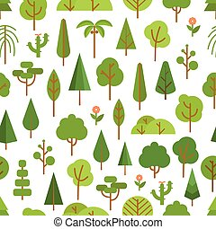 Different trees collection Lineart design seamless pattern