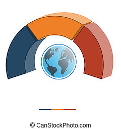 Template infographics coloured semicircle three positions 3D...