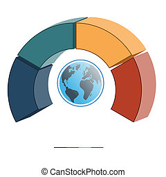 Template infographics coloured semicircle four positions 3D...