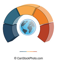 Template infographics coloured semicircle five positions 3D...