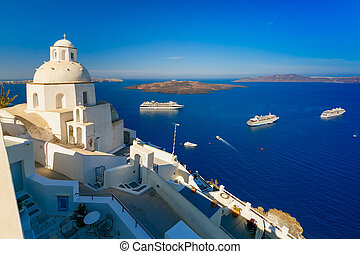 Fira, main town of Santorini, Greece - Fira, modern capital...