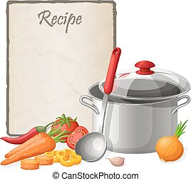 Recipe card. Kitchen note blank template vector...