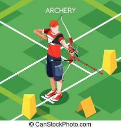 Archery Summer Games Isometric 3D Vector Illustration -...