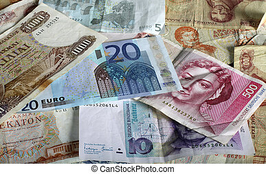 Euro and legacy currencies - Euro currency notes with...