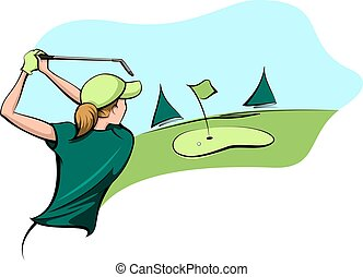 Golfer Woman Going for the Green